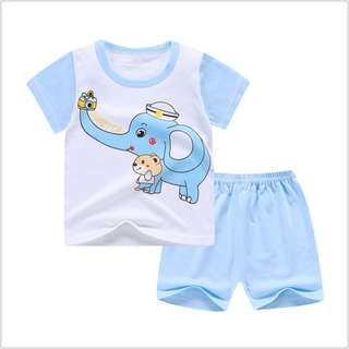 Blue Elephant (mix any design) Short-Sleeved Suit Cotton Children - Min Qty 3 Pairs