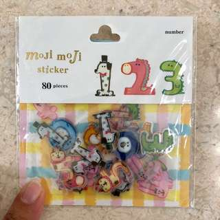 Animal number stickers, 80pcs