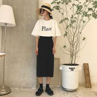 🌻復古開叉高腰半身裙 中長裙 長裙 兩色可選 顯瘦 顯腿長 修長