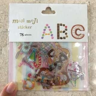 Dessert-themed alphabet stickers, 78pcs