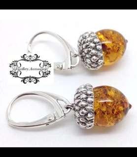 Natural Genuine Baltic Amber Acorn 925 Sterling Silver Dangle/ Drop Earrings. 天然波羅的海真琥珀925純銀松果垂吊耳環 .