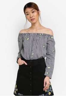 Something borrowed button down of shoulder top