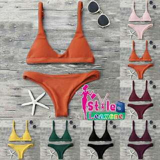 Textured Scoop Bikini Set