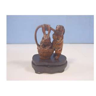 Vintage hand carved wood netsuke 2 rabbits in basket display wood stand c. 1960s