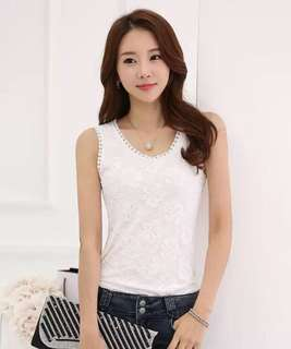 Elegant Cotton Lace Sleeveless Top