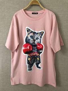 出清特價全新立體飾品功夫貓棉質粉色上衣