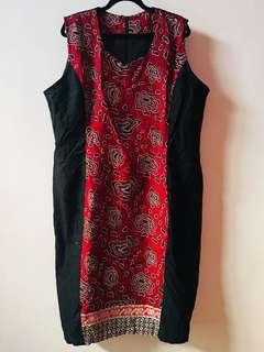 [BARU] (fit to 3L) Dress hitam-merah tanpa lengan