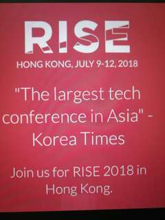 "🚚 Selling tickets for RISE HK conference 2018 ""The largest tech conference in Asia"""
