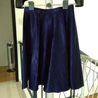 Navy Blue Silk Midi Skirt
