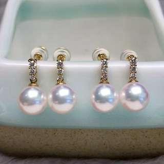 8-8.5mm高品質AKOYA耳環 18k金➕高品質鑽石💎