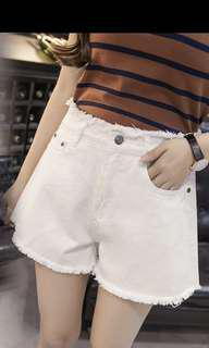 SALES: white denim shorts