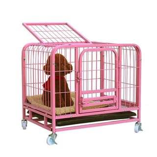 迪迪加粗小型中型帶廁所寵物籠狗貓專用粉紅色