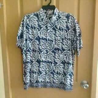 Repriced! Blue/offwhite batik shirt