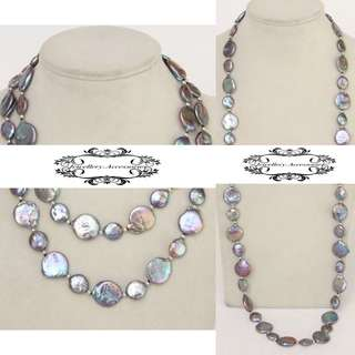 2 Ways Lustrous Iridescent Genuine Baroque Coin Pearls Necklace  2穿法光亮幻彩真圓扁巴洛克珍珠長項鍊