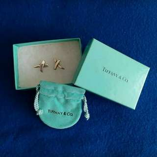 Tiffany & Co. Sterling Silver Palomar Picasso X KISS  Pierced Earrings, Preowned, Great condition, With original box & dustbag。
