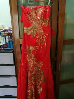 Red fish tail dinner gown