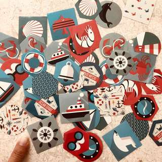 Nautical-themed stickers, 45pcs
