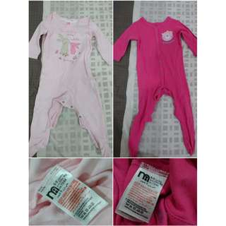 Preloved Mothercare baby girl sleepsuits