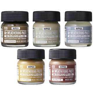 Mr. Weathering Paste (Mud Brown, Mud White, Wet Clear, Mud Yellow)