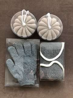 BNIB Bath & Shower Exfoliate Gloves Sponge Scrub