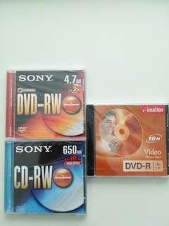 DVD-RW, DVD-R & CD-RW