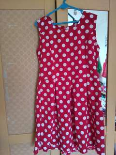 Red white polka dress
