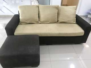 L Shape Sofa fabric and suede