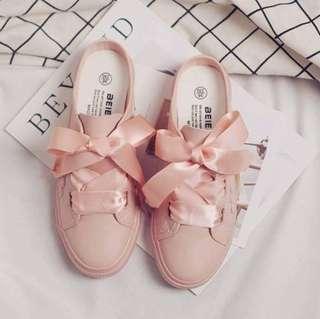 【6/30下午5:00結單】🇰🇷韓國🇰🇷超可愛緞帶蝴蝶結懶人鞋-2色