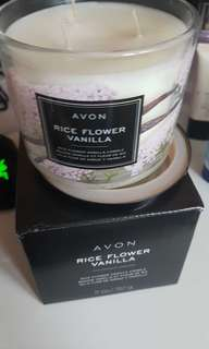 new in box! rice flower vanilla 3 wick candle
