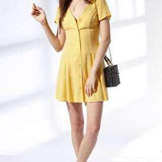 LA Hearts Yellow Front Button Up Dress