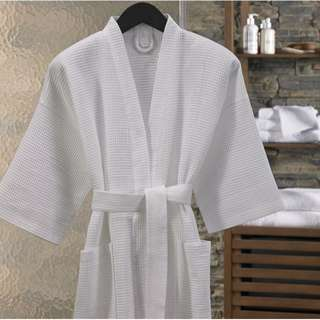 Premium Waffle Robe (White)