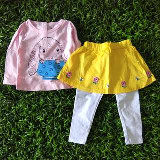 Girl set Rabbit Skirtpants