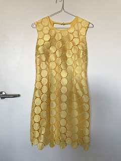 Natasha Gan yellow circle lace dress size 6-8