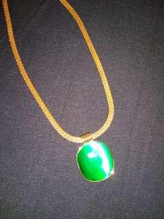 Chain with green jade locket