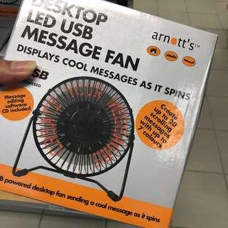 USB led message desk fan