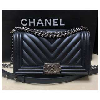 Authentic Chanel Boy Chevron Medium Flap Bag