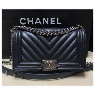 Authentic Chanel Boy Chevron Medium Flap Bag