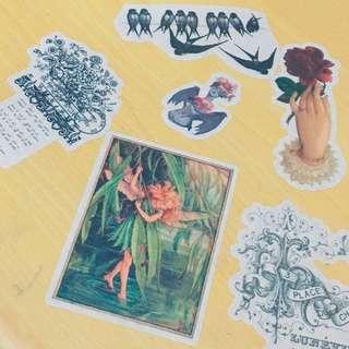 往日童話復古和紙貼紙