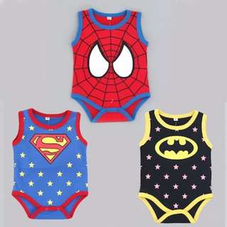 🚚 [CLEAR STOCK], GOOD DEAL, GREAT PRICE Baby romper sleeveless singlet clothes rompers baby newborn toddler children boys superman spiderman batman