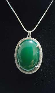 Natural Green Chalcedony Pendant
