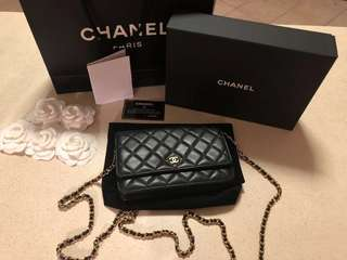 AUTHENTIC Chanel Classic Quilted Wallet On Chain (WOC) Black Lambskin Gold Hardware