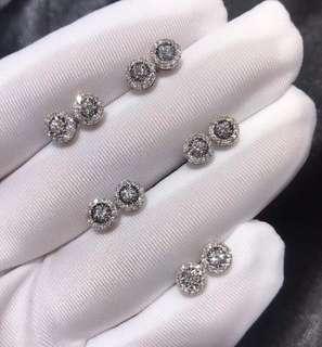 【超抵價】18k白色黃金鑽石耳環