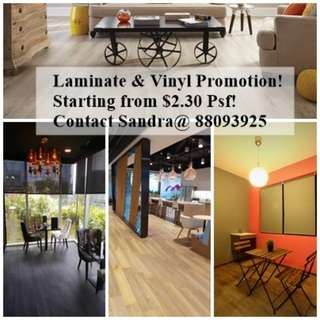 Laminate & Vinyl Flooring Promotion, starting at $2.30