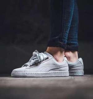 Puma grey heart suede sneakers