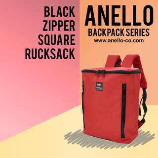 Anello Black Zipper Square Rucksack | Anello Backpack Series!