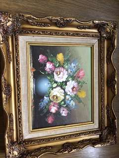Acrylic painting in vintage photo frame