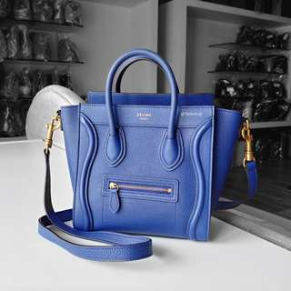 Authentic Celine Blue Calf Leather Nano Luggage