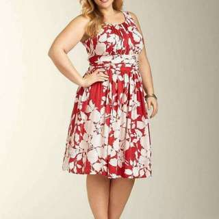 🍃Formal Floral Print Red Plussize Dress