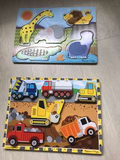 Melissa Doug animal vehicles wooden puzzles
