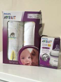 Avent 2 Pc swaddle + Avent Bottle (brand new)